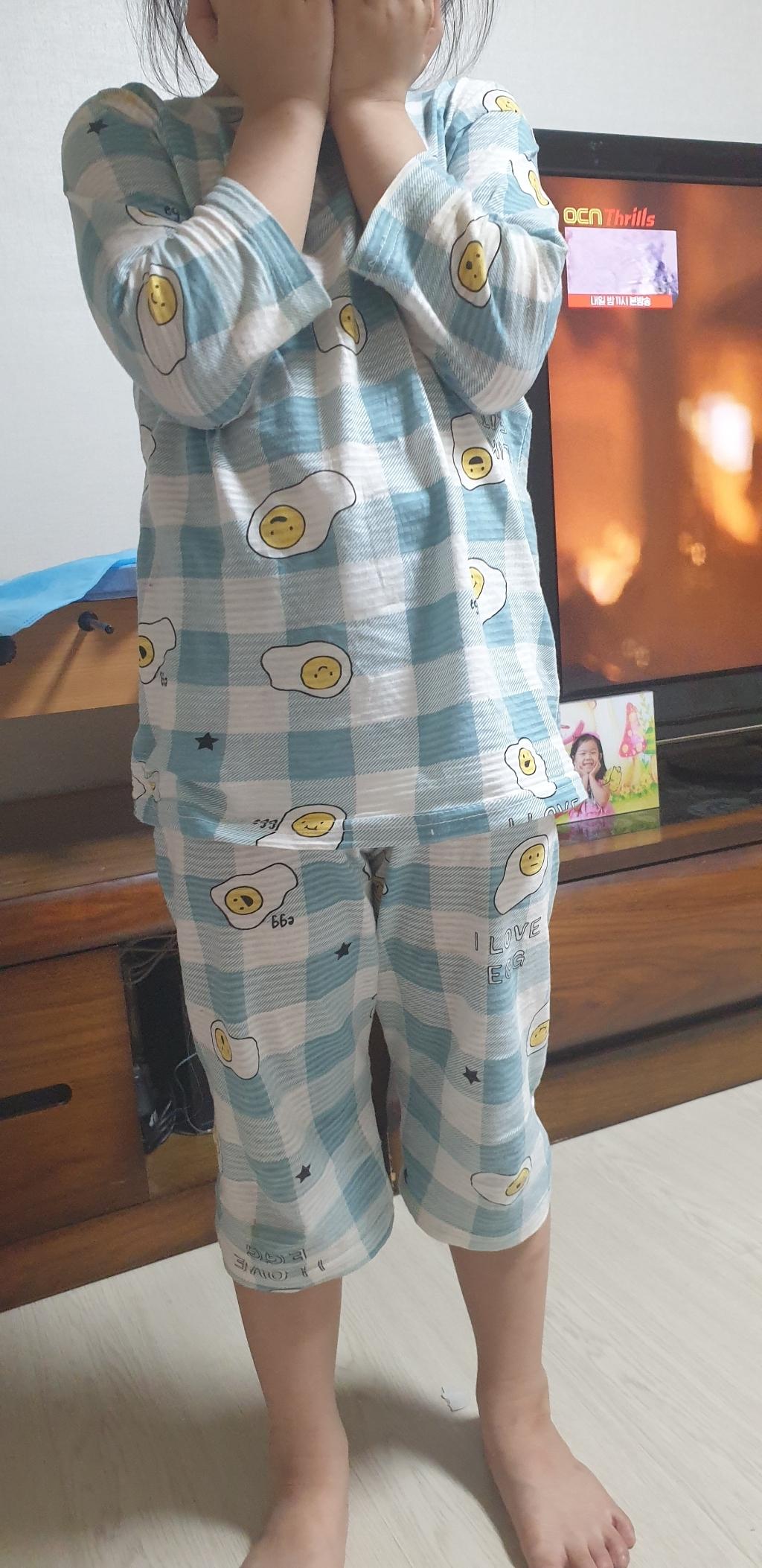 캐릭모아키즈 유아 아동 주니어 내의 내복 실내복 잠옷 쟈가드 7부 에그  리뷰 후기