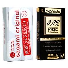 사가미 오리지널 0.02 콘돔 6p + 오카모토 하이드로 PU 0.02 콘돔 6p, 1세트