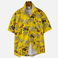 고스트리퍼블릭 남성용 네이티브 하와이안 오버핏 반팔 셔츠 MSH-5S23