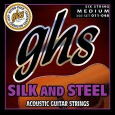 GHS 350/1148 실크 앤 스틸 미디움 어쿠스틱 기타 줄, 혼합색상
