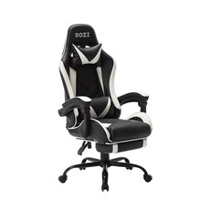 ROZI 게이밍 의자, 블랙 + 화이트