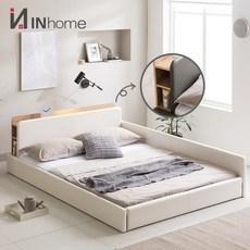 인홈 라온 헤드수납 LED 저상형 침대, 슬림형, 그레이