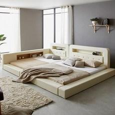세진침대 PE폼깔판 증정 코코 LED 저상형 패밀리 침대+파워본넬 매트리스 세트, 아이보리