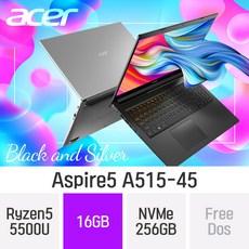 ACER 가성비 노트북 아스파이어5 A515-45 테라4 [실버만가능], 16GB, NVMe 256GB, 미포함
