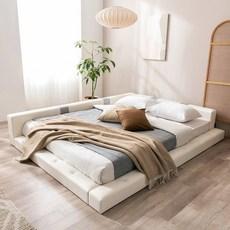 젠티스 저상형 사각스퀘어 퀸 침대 세트 매트포함, 03.프레임+참숯자가드PK+깔판, 화이트