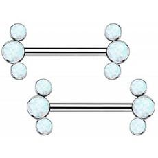 이태리직송 OUFER 피어싱 14 g 티타늄 젖꼭지 합성 투명 오팔 젖꼭지 젖꼭지 피어싱 및 티타늄 색상