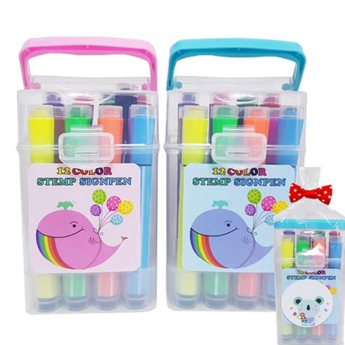 팅팅팅(애플팬시) 애니멀 12색 스템프 브러쉬 싸인펜 어린이집 생일선물 답례품
